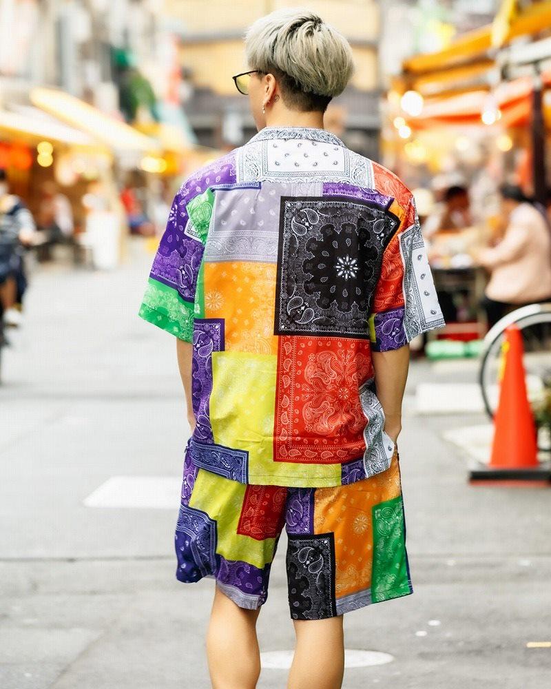 マルチカラーパッチワークバンダナ半袖シャツの画像5